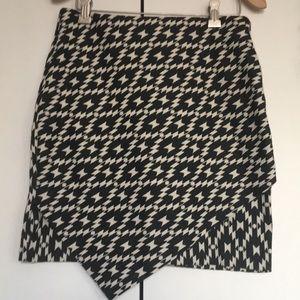 A symmetrical detail print miniskirt